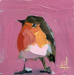 Robin no. 230 Original Oil Painting by Angela Moulton