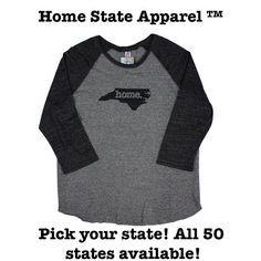 Home State Apparel Black on Grey Baseball Raglan Shirt