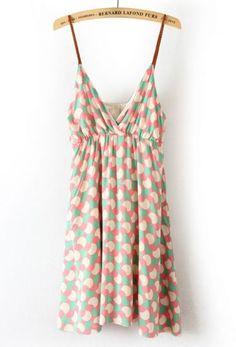Pink Spaghetti Strap Sleeveless Polka Dot Dress #sheinside