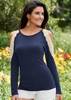 The perfect balance for spring: cold shoulders and long sleeves! Venus crochet shoulder sweater.