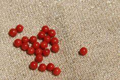 5 de perles de 6. mm en corail rouge certifiė véritable , de Corse (corallium rubrum ) p2 : Perles Naturelles, Végétales par les-tresors-de-la-corse