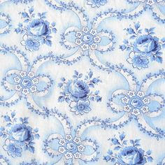 vintage french fabric blue floral fabric antique by minoucbrocante, €9.50