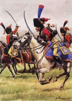 Cazadores a Caballo de la Guardia Imperial en uniforme de batalla, Austerlitz (con la manta enrrollada en torno al torso para protegerse de los sablazos) - Lucien Rousselot Más en www.elgrancapitan.org/foro