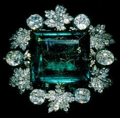 """""""Empress Maria Feodorovna of Russia's emerald and diamond brooch, given by Catherine II on the occasion of her marrige to Paul I (1776). """""""