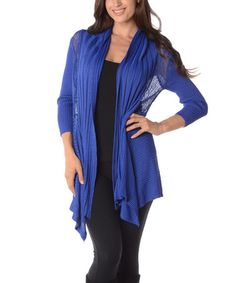 Love this Royal Ribbed Open Cardigan on #zulily! #zulilyfinds