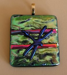 Dragonfly on beautiful Dichroic glass , made  March 2015; Unique Glass Art by Marion.