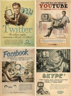 Faux vintage posters for modern web services. The Brazilian advertising agency Moma made a set of advertisements for websites as though they were designed in the 1950s-60s.