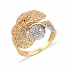 Gül Motifli Şık Altın Yüzük : www.altinalalim.com #altin #altinyuzuk #gift