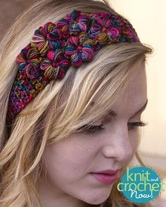 Free crochet Thai Garden Headband pattern download Design by Jenny King Featured in Season 6, episode 13, of Knit and Crochet Now! TV.