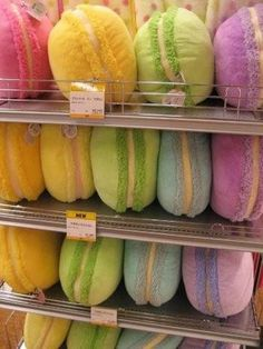Kawaii macaron pillow. I want one in every color.