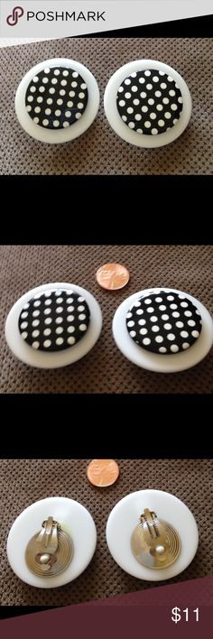 Large vintage black and white dots earrings Cute button style vintage earrings with back clips Jewelry Earrings