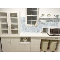 kicoさんの、キッチン,ゴミ箱,取って,ムーミンタイル,名古屋モザイクタイル,造作食器棚,のお部屋写真