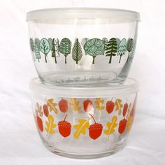 Squirrel It Away Glass Storage Bowls by 1canoe2 on Etsy, $28.00