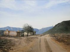 """peter Bonney South African Karroo Landscape artist image title """"The Road To Groot Swartberg"""" Landscape Drawings, Cool Landscapes, Landscape Photos, Landscape Photography, Creative Photography, House Landscape, Landscape Art, Landscape Paintings, Old Paintings"""