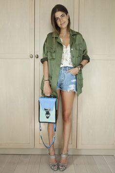 Leandra Medine style. Military jacket and denim cut offs <3