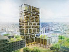 gridded residential tower in antwerp by C.F. møller and brut