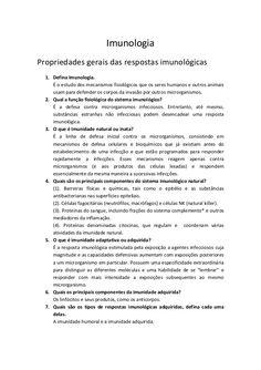 ImunologiaPropriedades gerais das respostas imunológicas  1. Defina Imunologia.     É o estudo dos mecanismos fisiológicos...