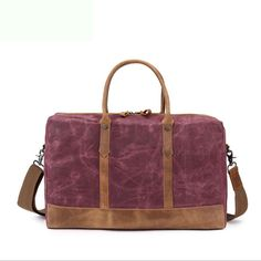 Vintage Crazy Horse Leather Travel Duffle Bag, Holdall Canvas Bag