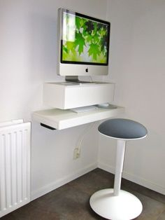 create a small floating imac workspace with ikea shelves - Computer Desk For Small Spaces