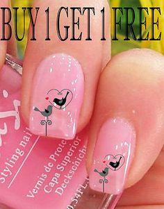 20 Bird In A Heart  Nail Art Stickers Water Transfers *Free P* *Post Today