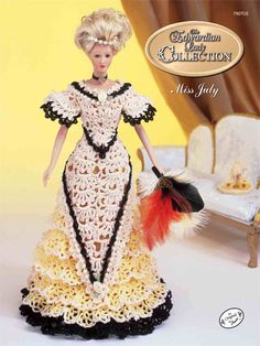 Crochet - Doll Patterns - Bed Doll Patterns - The Edwardian Lady Summer Ball Gown Miss July 1996