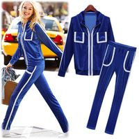Fashion Contrast Color Women Sets Sporting Suits Corduroy sweater jacket coat and pants for woman Blue sport suit free shipping