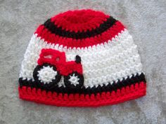 Crochet Baby Boy Hat Red Tractor Hat Infant by crochethatsbyjoyce OMG @Farran Little Levy I may even make this for my brother lol.