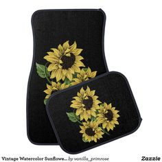 Vintage Watercolor Sunflowers Auto Floor Mats