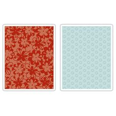 Sizzix - BasicGrey - Textured Impressions - Figgy Pudding Collection - Embossing Folders - Flower Rings and Clusters Set