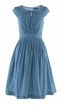 Emily and Fin Poppy Dress Grey-Blue White Polka Dot by Ruby Bow at BOUF
