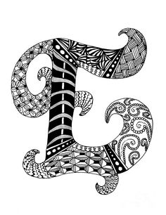 Zentangle Letter E Monogram In Black And White Drawing