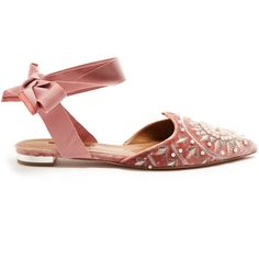 Aquazzura Stellar embroidered velvet backless flats ($795) ❤ liked on Polyvore featuring shoes, flats, pink, pink evening shoes, flat pointed-toe shoes, beaded flats, pink velvet shoes and pointy-toe flats