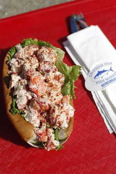 Lobster Roll at the Chatham Fish Pier Market- Chatham, Cape Cod.