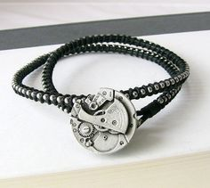 Mens Bracelet Steampunk Jewelry Silver and Black Leather Wrap Bracelet for Man Gift for Him