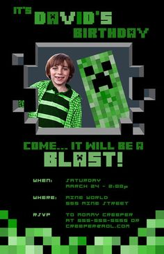Minecraft Personalized Party Invitations