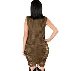 Beige sleeveless ribbed knit sweater dress cut out ripped holes for women