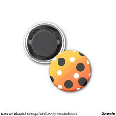 Dots On Blended OrangeToYellow 1 Inch Round Magnet
