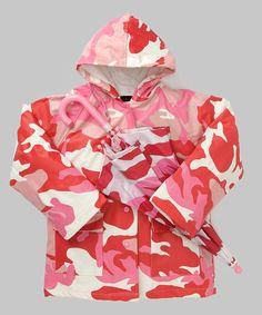 Take a look at this Pink Camo Raincoat & Umbrella - Toddler & Kids by Foxfire on today! Yellow Raincoat, Girls World, Pink Camo, Kids Fashion, Rain Jacket, Windbreaker, Ruffle Blouse, Hoodies, Cute