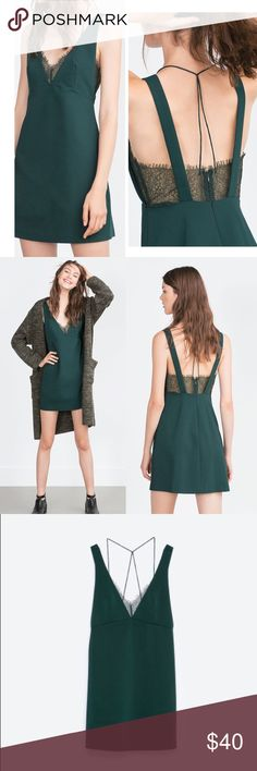 Green lace Zara dress Very cute Zara holiday dress. A-line. Size XS. No flaws. Zara Dresses Mini