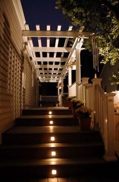 Deck Lighting Ideas – Outdoor lighting can turn an average outdoor patio into something remarkable while providing safety at night and an inviting atmosphere. With a well-designed lighting pl… Deck Ideas For Small Houses, House Ideas, Outdoor Deck Lighting, Landscape Lighting, Island Deck, Pergola Decorations, Deck Stairs, Diy Deck, Outdoor Landscaping