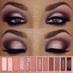 Naked Palette 3 eyeshadows 1.) prime eyes and sweep NOONER through crease 2.) darken crease w/ DARKSIDE & apply BLACKHEART to outer crease 3.) blend out above crease w/ LIMIT 4.) mix NOONER & BLACKHEART blend any harsh lines through crease 5.) apply DUST (wet) on Lid; then pat BUZZ over lid lightly. 6.) ..glitter is by @toofaced in blue angel over lid lightly using gel adhesive 7.) wearing @nyxcosmetics gel liner & smudger in Jet