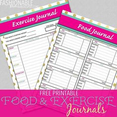 New on the blog today: free printable exercise and food journals! Cuz I have a few holiday pounds to shed! fashionablem...