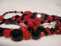 Elegant Black and Red Crystal Necklace by JadedJewelsUK on Etsy, £12.00