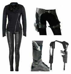 Cool spy like outfit. Minus the guns. Spy Outfit, Badass Outfit, Zombie Apocalypse Outfit, Marvel Inspired Outfits, Looks Black, Character Outfits, Fashion Outfits, Womens Fashion, Casual