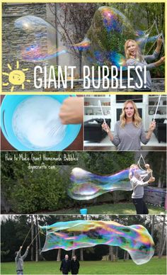 Summer Fun with the Kids: How to Make Giant Homemade Bubbles - DIY & Crafts Giant Bubble Wands, Bubble Diy, Giant Bubbles, Giant Bubble Recipe, Homemade Outdoor Games, Outdoor Games For Kids, Outdoor Learning, Outdoor Ideas, Kids Bubbles