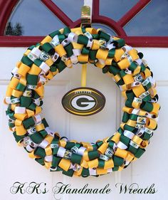 christmas with the green bay packers sayings | Items similar to Green Bay Packer Ribbon Wreath on Etsy
