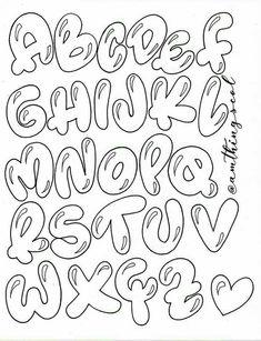 Bubble Letters Alphabet, Bubble Letter Fonts, Hand Lettering Alphabet, Calligraphy Alphabet, Islamic Calligraphy, Bullet Journal Banner, Bullet Journal Writing, Bullet Journal Ideas Pages, Graffiti Alphabet Styles