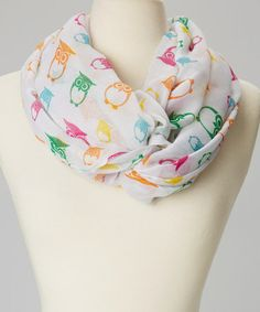 Love this White & Pink Owl Infinity Scarf on #zulily! #zulilyfinds