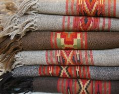 Stack of wool blankets! We'll be stock piling on these gorgeous Indian blankets! Southwest Decor, Southwestern Decorating, Southwest Style, Indian Blankets, Woven Blankets, Mexican Blankets, Cozy Blankets, Pendleton Blankets, Rustic Blankets