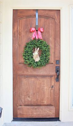 Easter Bunny Wreath XL Spring Wreath Rabbit by maddyjanedesigns